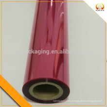 Red colored transparent PET plastic film for glass